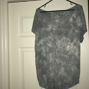 American Eagle Green/White Tie-Dye V-Neck